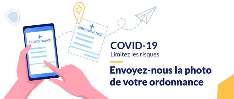 COVID-19 ordonnance en ligne réservation médicaments prescription scan